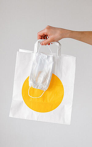 Shopping bag and COVID-19 mask